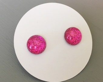 Pink Sparkle Earrings on Titanium Posts, Hot Pink, Glitter