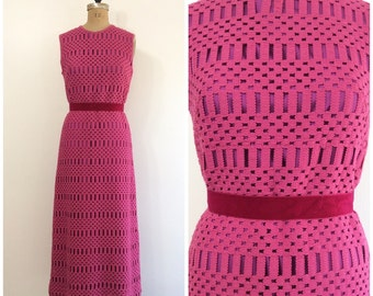 1960s Crochet Knit Maxi Dress Vintage 60s Fuschia Magenta Winklemans Sweater Dress