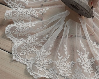 "10 yard 10cm 3.93"" wide ivory mesh tulle gauze fabric embroidered tapes lace trim ribbon 1128 free ship"