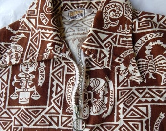 1960s Tiki Print Shirt. Catalina Martin.  Zodiac Theme. Metal Zip Front Pool Shirt.  Medium