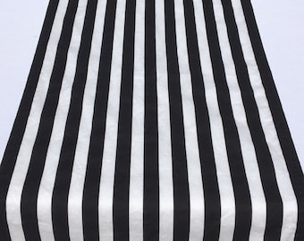 Stripe Table Runner, Black and White Stripe Runner, Wedding, Shower, Party, Home Decor, Custom Size Available