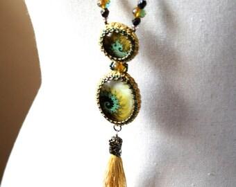 Gold Long Tatting Beaded Fracta Art Glass Cabochon Tassel Necklace