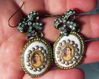Ceramic Drop Vintage Portrait Earrings