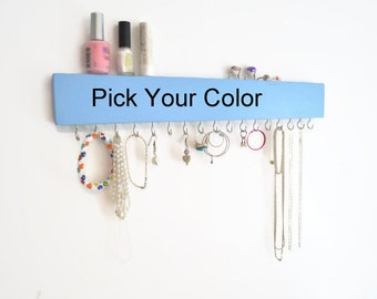 Wall Jewelry Organizer - Wood Jewelry Holder - Modern -Kids - Girls room -Pick your color