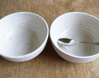 Set of 2 large stacking dinner bowls, rustic, stoneware, wheel thrown, ready to ship