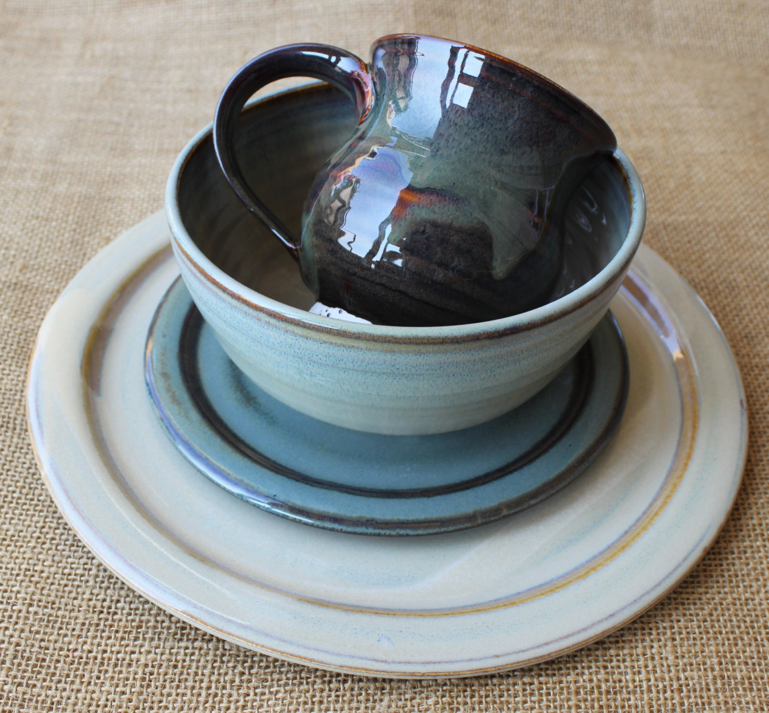 4 piece dinnerware set mix and match stoneware pottery. Black Bedroom Furniture Sets. Home Design Ideas
