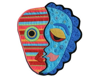 """Quilted Mask Wall Hanging - IN MY FACE - 14""""w x 16""""h"""