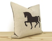 Decorative Pillow Case, Horse Cushion Cover In Dark Brown, Natural Beige and Houndstooth Accent | 12x18 or 16x16 inches | Rustic Home Decor