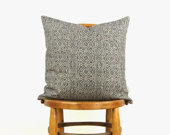 18x18 Decorative Pillow Cover in Dark Grey and Beige   Geometric Print   Graphic Throw Pillow Case,  Cushion Cover   Modern Home Decor