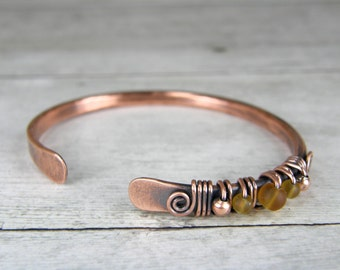 Copper Wire Wrapped Bracelet with Amber Glass, Antiqued Copper & Amber Glass Bangle, Size 6