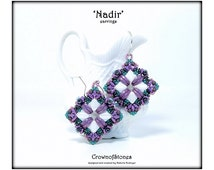 Bead pattern Tutorial DIY Nadir earrings with Silky beads, crescent beads, drops, seed beads, Miniduo, Fire polished beads