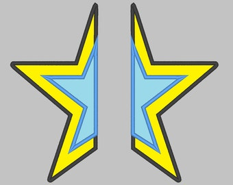 Split Star Hero double star applique split embroidery for hoodie, front embroidery - Machine embroidery applique designs  INSTANT DOWNLOAD