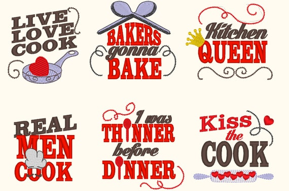 Kitchen cute quotes machine embroidery designs