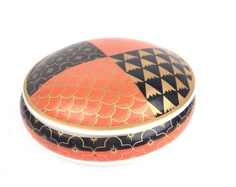 Trinket Dish with Lid Orange Black and Gold made in West Germany