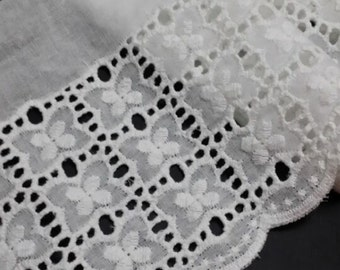 White Cotton Fabric Lace Trim Floral Embroideried Hollowed Lace 3.9 Inches Wide 2 Yards