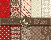 50% Off Fall Paper Pack - 10 Printable Digital Scrapbooking papers - 12 x12 - 300 DPI