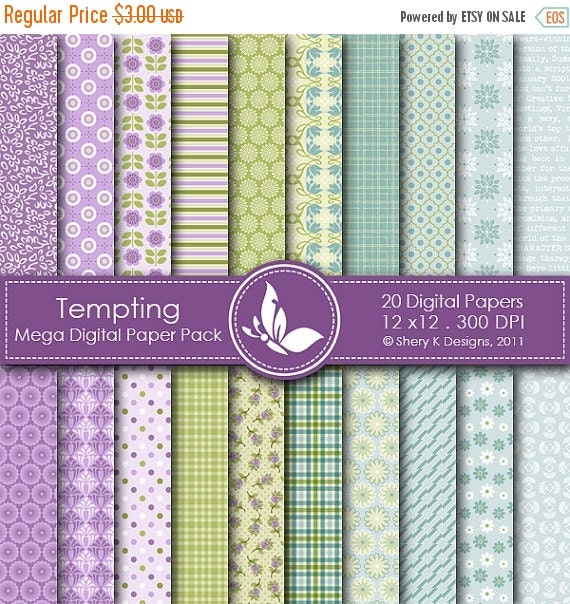 50% off Tempting Mega Paper Pack - 20 Printable Digital papers - 12 x12 - 300 DPI
