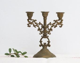 French Vintage Golden Brass Candelabra Candle Holder