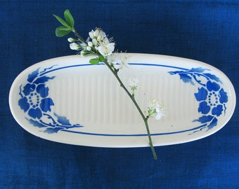 Antique french  ceramic soap dish, blue  floral art deco  pattern