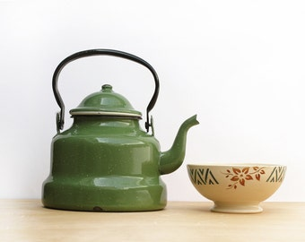 French vintage green Enamel Tea Kettle,olive green enamel kitchen, enamelware Teakettle