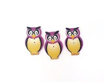 3 Owl Buttons, Wood, Wooden, Kids Buttons, Purple, Pink, White