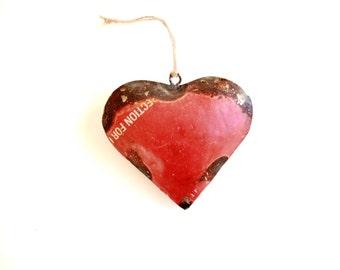 Red Heart Ornament . Rustic Heart Ornament . metal ornaments . red ornaments . reclaimed metal heart . big heart . small heart . rusty metal