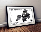 New York City Map - Black and White Art - New York City Cityscape Poster - Industrial Style - NYC Wall Art - Gift for boyfriend