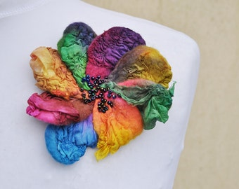 Felted brooch , flower, brooch, felt, nuno felt, yellow, purple, blue, purple, green