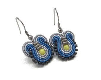 Blue Earrings Blue Drop Earrings Blue and Yellow Earrings Blue Earings Blue Dangle Earrings Multicolor Earrings Soutache Earrings