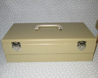 Vintage Logan Slides Double Decker Two Level Box Container Organizer Sheet Metal Green Gold Color CLEAN