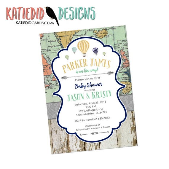 Adventure awaits baby shower invitation gender neutral reveal map rustic chic hot air balloons burlap sip see world wood 1283 diaper world