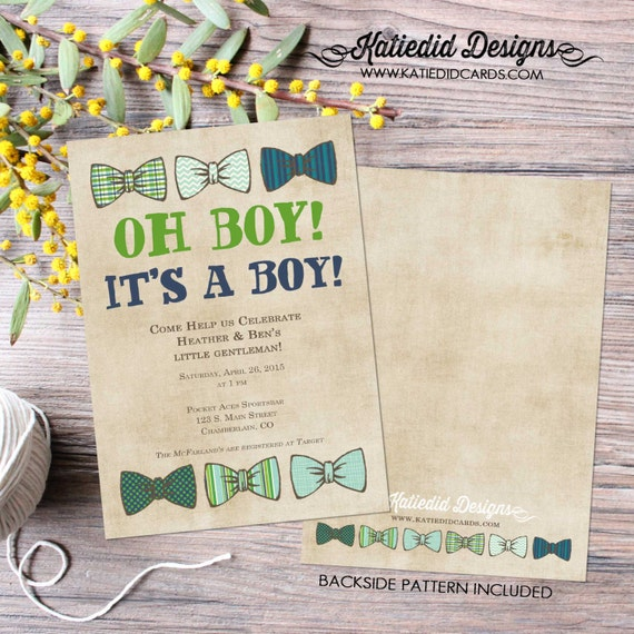 bow tie baby shower invitation little gentleman baby boy shower baptism christening couples shower bash (item 1204) shabby chic invitations