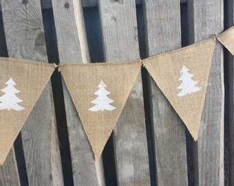 Christmas tree garland, christmas tree bunting, christmas bunting, season, winter, burlap bunting, rustic christmas bunting, let it snow