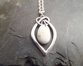 Scottish Jewelry, Beach Stone Necklace, Rare White Scottish Iona Marble with Celtic Knot in Silver, Healing Stone, Lucky Charm