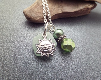 Sun Necklace with Pastel Green Scottish Sea Glass and Beads, Scotland Jewelry, Beach Glass Necklace