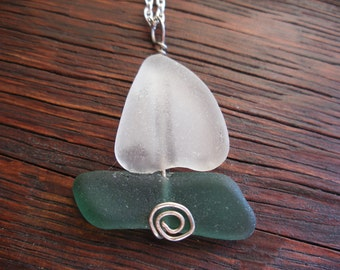 Scottish Sea Glass Sailboat Necklace Sailing Nautical Beach Theme