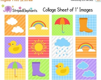 50% OFF SALE Weather Digital Collage Sheets - 1 Inch Square Images - Instant Download - Commercial Use