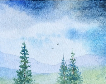 Original ACEO watercolor painting - A long way
