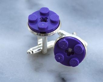 Dark Purple Round Lego Plate Cufflinks - Silver plated - Valentine's Day Gift - Groomsmen Gift, Wedding accessory