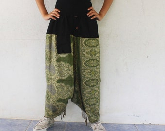 green paisley harem pants  Indian shawl fabric ,yoga,spa,hippie, bohemian,  size S-L,unisex pants.