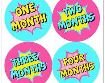 Superhero Baby Month Stickers,  Super Hero Monthly Baby Girl Stickers, Baby Month Milestone Stickers Superhero Comic Sticker Comic Book