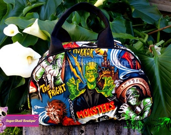 Classic Horror Monster Bowler Bag Dottie Swoon Frankenstein pinup Purse Tote