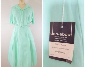 Vintage 1960s Dress / Mint Green Rayon Day Dress / Shirtwaist / NWT / XL Plus Size