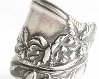 Clematis Flower Ring, Silver Rose Ring, Sterling Silver Spoon Ring, Chunky Silver Ring, Antique Mille Fleurs ca 1904, Custom Ring Size, 6248