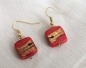 Gold Red and Black Square Glass Earrings
