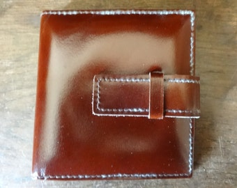 Vintage French Leather Mini Small Pocket Photo Album Wallet Case circa 1970-80's / English Shop