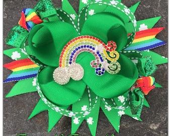 St Patricks Day Rhinestone Rainbow Hairbow