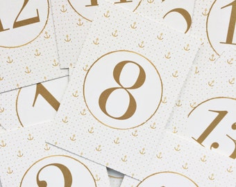Gold Anchor Wedding Table Numbers