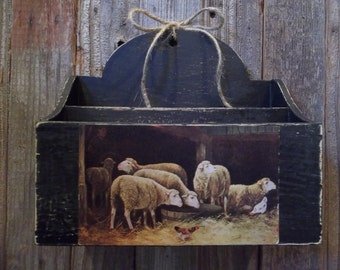 Sweet Primitively Painted Handmade Wood Wall Box or Letter Holder