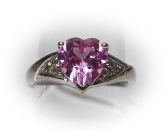 10 K Gold Ring with Synthetic Pink Sapphire Center Stone